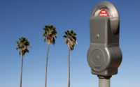 Photo: parking meter and 3 palm trees